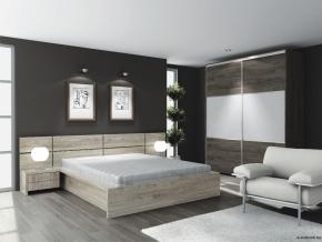 D/Sz60 ágy ágyráccsal, 2 db éjjeli szekrénnyel