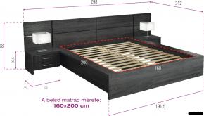 D/Sz60 ágy ágyráccsal, 2 db éjjeli szekrénnyel méretei