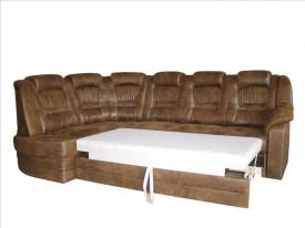 Kényelem barna textílbőr sarok ülőgarnítura