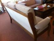 50361.Tölgyfa keretes, magas ülőlapos 3-as kanapé.