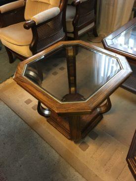 S80127. Üveglapos tölgyfa dohányzóasztal