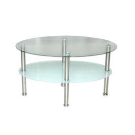 D/D02.  Kerek üveg dohányzó asztal